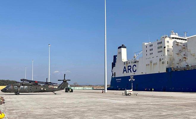 ABD,Askeri teçhizatları taşıyan gemi Dedeağaç'ta