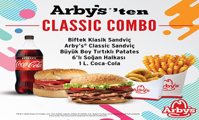 Arby's® Classic Combo Menü Tıkla Gelsin® ile Güvenle Kapınızda!
