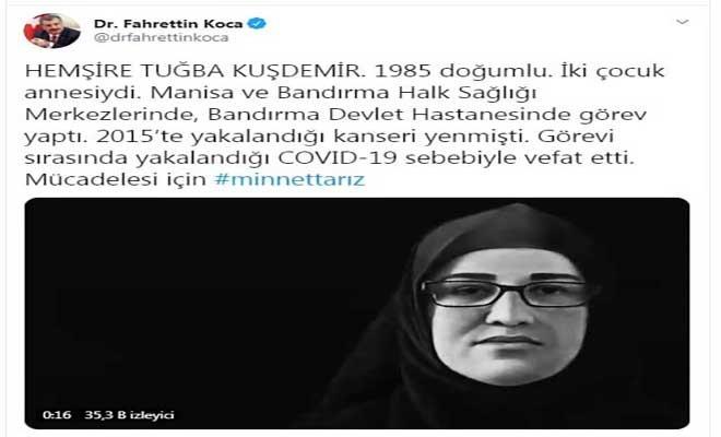 Bakan Koca'dan, 'Tuğba hemşire' hayatını kaybetti paylaşımı