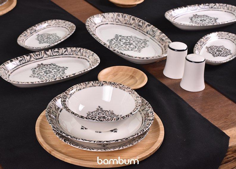 Bambunun Doğallığı Porselen Yemek Takımları ile Birleşti