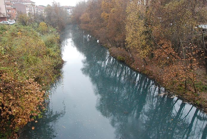 Bartın Irmağı maviye büründü, balıklar su yüzeyine çıktı