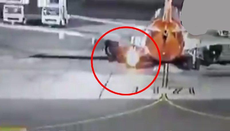 Boeing 737-800 uçağın İniş takımları alev aldı