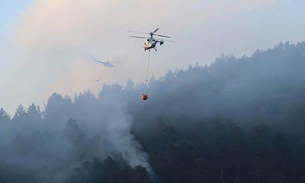 Çanakkale'deki orman yangınına havadan müdahale başladı