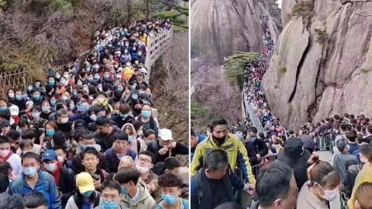 Çin'de on binlerce kişi parklara akın etti