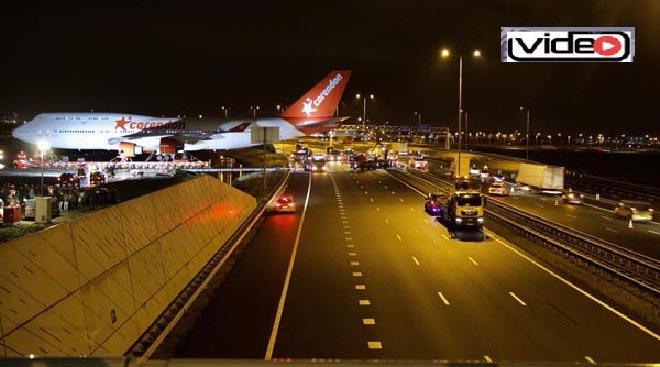 Corendon'un Boeing 747'si otoyoldan geçti!