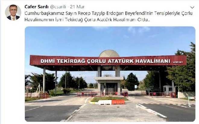 Çorlu Havalimanı'nın adı Atatürk Havalimanı oldu!