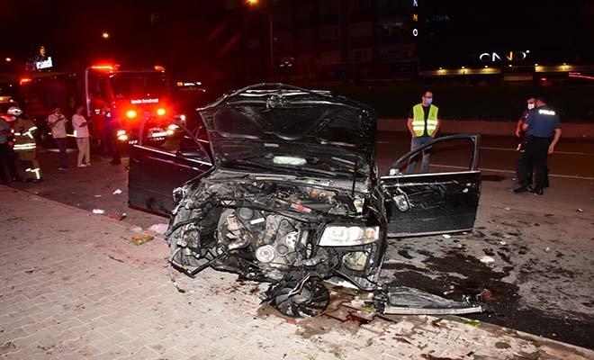 Direğe çarpan otomobil takla  attı: 1 yaralı