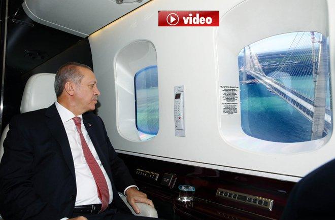Erdoğan, Yavuz Sultan Selim Köprüsü'nü havadan inceledi