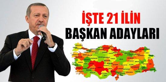 Erdoğan,Belediye başkan adaylarını açıkladı