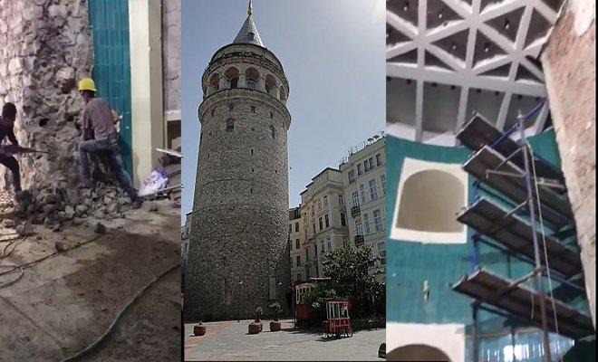 Galata Kulesi içerisinde yapılan akıl almaz uygulama(video)