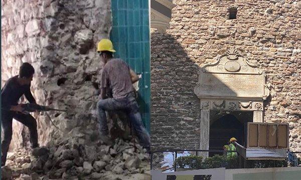 Galata Kulesi'nin yıkılan duvarları yeniden örüldü