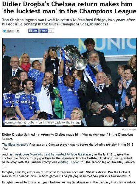 Galatasaray-Chelsea Eşleşmesi İngiliz Basınında