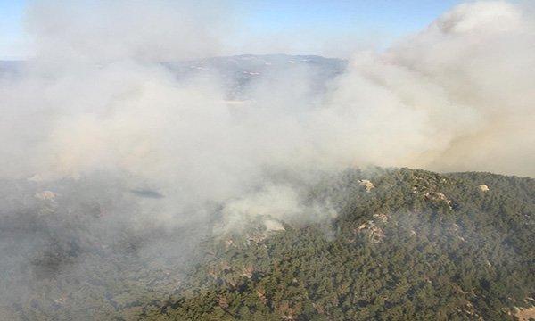 Gökbel Dağı'ndaki yangına havadan müdahale sürüyor