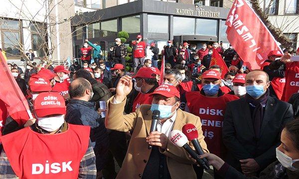 Kadıköy Belediyesi şirketinde çalışanlardan eylem