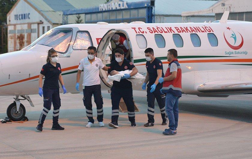 Kalp hastası bebek ambulans uçakla Ankara'ya getirildi