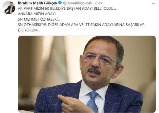 Melih Gökçek'ten Mehmet Özhaseki paylaşımı