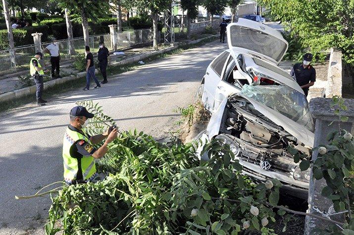 Otomobil, çarpıp devirdiği ağacın üzerinde kaldı