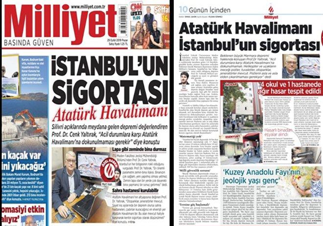 *Prof. Dr.Yaltırak.,Atatürk Havalimanı'na dokunulmamalı!