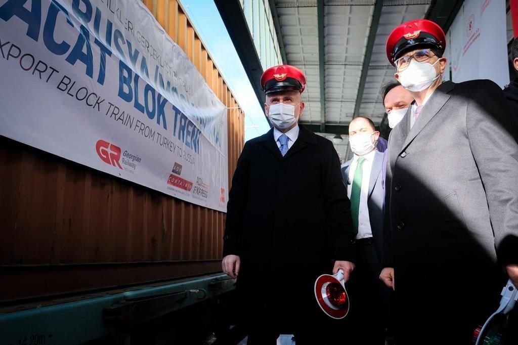 Rusya ve Çin'e gidecek ihracat trenleri Ankara'dan uğurlandı(video)