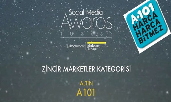 """Social Media Awards Turkey""Den A101'e altın ödül"