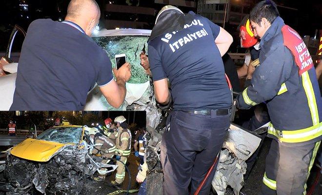 Taksiyle otomobil kafa kafaya çarpıştı, 1 ölü 2 yaralı
