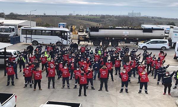 Tekirdağ Büyükşehir Belediyesi işçilerinden eylem(video)