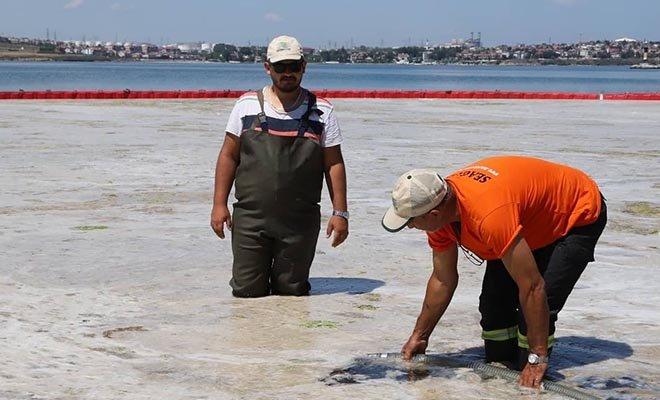 Tekirdağ'da deniz salyası temizliği#video