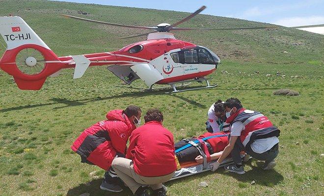 video#Yaylada fenalaşan kişi için ambulans helikopter